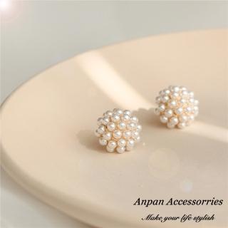 【Anpan】925銀針韓東大門NYU小珍珠球耳環