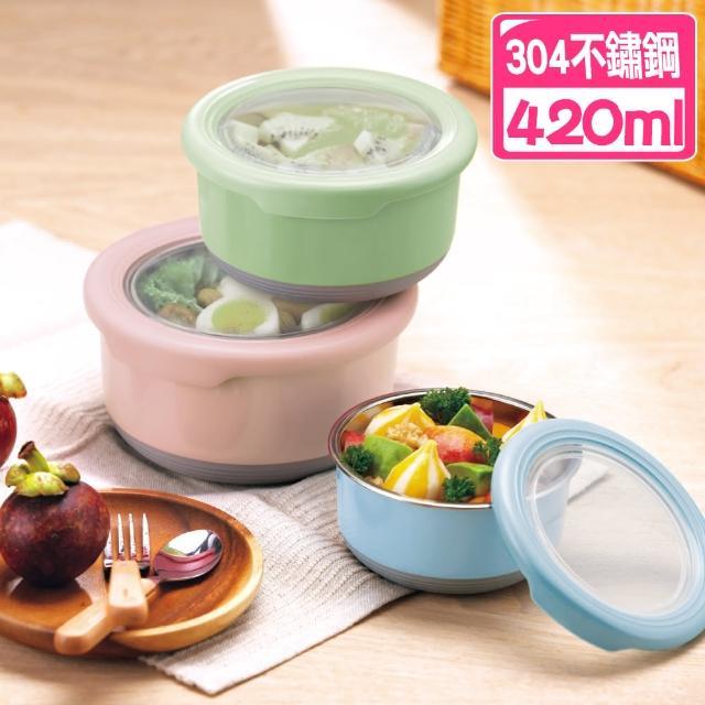 【佳工坊】304不鏽鋼北歐圓型附蓋保鮮隔熱碗(420ml)