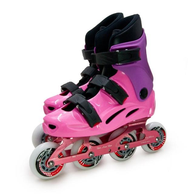 【D.L.D多輪多】專業競速鋁合金底座直排輪 溜冰鞋(粉紫 M6 附贈太空背包)