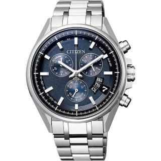 【CITIZEN 星辰】限量 鈦 光動能電波萬年曆手錶-藍x銀/43mm(BY0140-57L)