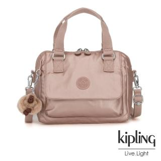 【KIPLING】唯美玫瑰金側翻蓋手提側背包-ZEVA