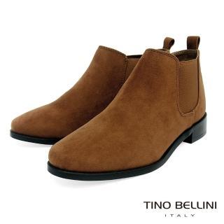 【TINO BELLINI 貝里尼】簡約質感布料低筒切爾西靴FS8502(棕)