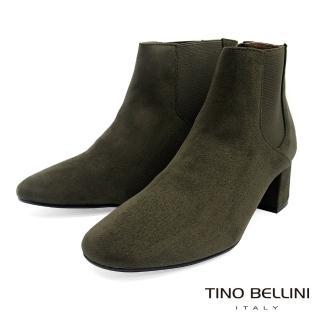 【TINO BELLINI 貝里尼】經典絨布質感中跟切爾西靴FS8504(綠)