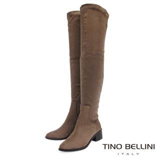 【TINO BELLINI 貝里尼】經典原色麂皮中跟過膝長靴FS8510(駝)