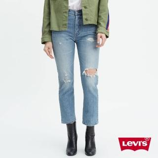 【LEVIS】女款 501 Crop 中腰排釦直筒牛仔長褲 / 破壞