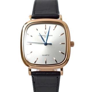 【Valentino Coupeau】玫金方形皮革錶