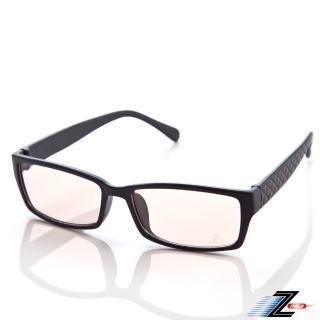【Z-POLS】經典質感黑 韓流格紋圖騰 MIT專業設計PC材質抗藍光眼鏡(濾藍光最佳利器兼具抗UV400多功能)