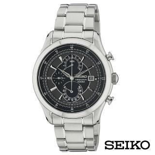 【SEIKO 精工】迷霧森林三眼不鏽鋼石英男錶-黑x43mm(SPC167P1)