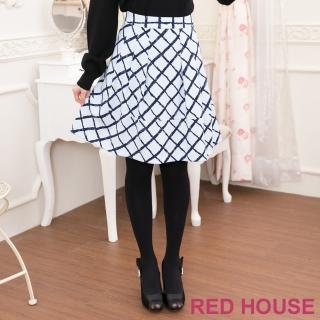 【RED HOUSE 蕾赫斯】拼接格子A字裙(淺藍色)