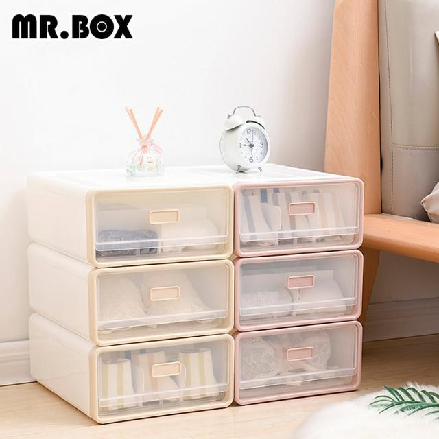 【Mr.box】日式抽屜式內衣小物收納整理盒收納箱(一組3入-兩色可選)/