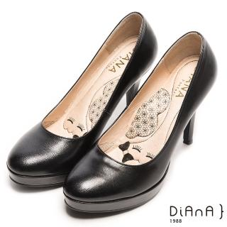 【DIANA】漫步雲端瞇眼美人款--魅力質感珠光系簡約真皮跟鞋(黑色羊皮)