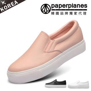 【Paperplanes】韓國空運/正常版型。柔軟素面皮革厚底懶人休閒鞋(7-184共3色/現貨)
