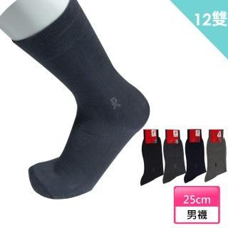 【ROBERTA 諾貝達】淡細格紋緹花LOGO 紳士襪/西裝襪-12雙(義大利名牌)