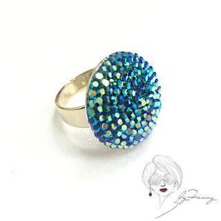 【byFanny】圓鑽戒指-極光藍(奧地利施華洛世奇水晶)
