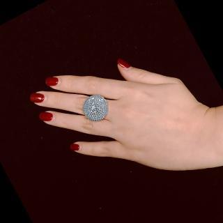 【byFanny】圓鑽戒指-幻變藍蛋白(奧地利施華洛世奇水晶)