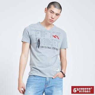 【5th STREET】男V領衝浪板短袖T恤-麻灰色