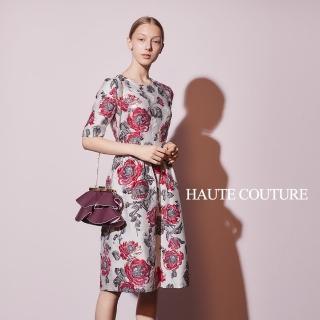 【ICHE 衣哲】Haute Couture 高定系 進口3D精緻玫瑰提花造型禮服洋裝-山茶紅