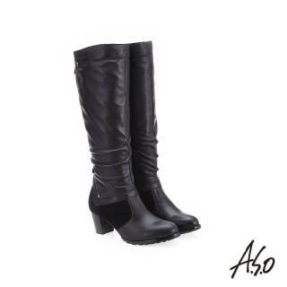 【A.S.O 阿瘦集團】簡約風格  抓皺皮革長靴(黑色)