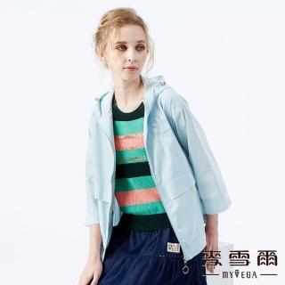 【MYVEGA 麥雪爾】貓咪刺繡棉質風衣連帽外套-淺藍