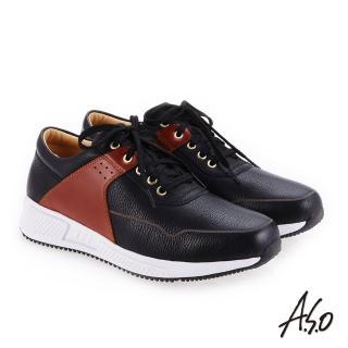 【A.S.O 阿瘦集團】輕量抗震  牛皮拼接奈米戶外健走鞋(黑色)