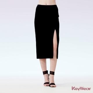 【KeyWear 奇威名品】經典時尚開衩鉛筆裙