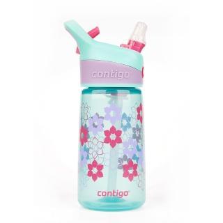 【美國Contigo】Striker 兒童卡通水壺吸管杯414ML 花朵款