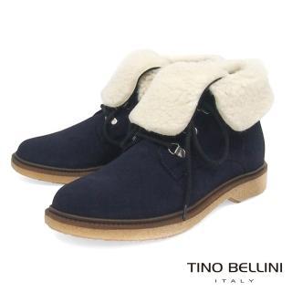 【TINO BELLINI 貝里尼】義大利進口美式休閒翻領綁帶短靴B79206(藍)