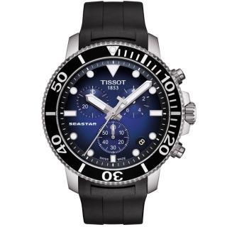 【TISSOT 天梭】Seastar 1000海洋之星300米潛水三眼計時錶-45mm/藍x黑(T1204171704100)