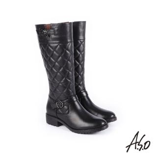 【A.S.O 阿瘦集團】經典格紋  中性風真皮時髦長靴(黑色)