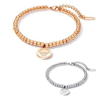 【I.Dear Jewelry】風中奇圓-西德鋼-精緻英文字母雕刻圓牌圓珠鈦鋼手鍊(3色)