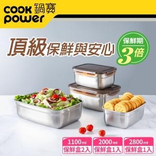 【CookPower鍋寶】316不鏽鋼保鮮盒大容量4入組(EO-BVS2801200111Z2)