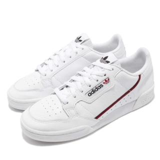 【adidas 愛迪達】休閒鞋 Continental 80 運動 男女鞋 愛迪達 情侶鞋 皮革 質感 穿搭 球鞋 白 紅(G27706)