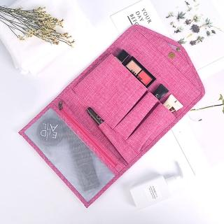 【E.City】皮夾式帶勾多功能化妝收納包包中包
