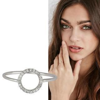 【SHASHI】紐約品牌 Circle Pave 鑲鑽圓滿圈圈戒指 925純銀(鑲鑽圓滿圈圈)