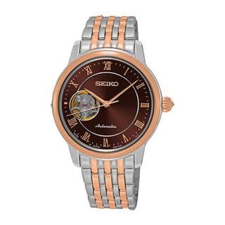 【SEIKO 精工】Presage 開芯玫瑰金時尚機械腕錶-34mm(4R38-01A0P/SSA852J)