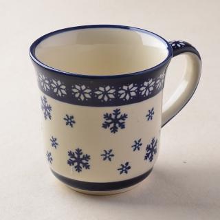 【波蘭陶 Zaklady】波蘭陶 雪白冰花系列 陶瓷馬克杯 380ml 波蘭手工製