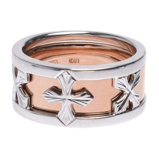 【MIKIMOTO 御木本】經典十字鏤空造型雙環K金戒指(銀X玫瑰金MIKI-18K)