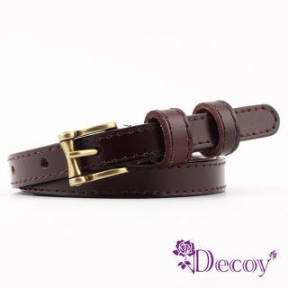 【Decoy】古銅方框*典雅細真牛皮皮帶/4色可選
