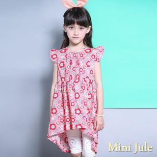 【Mini Jule】女童 洋裝 滿版花朵前短後長無袖洋裝(粉紅)