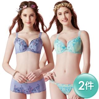 【Swear 思薇爾】啵時尚花漾女神系列A-D罩壓模刺繡水袋包覆內衣2件組(鋯石藍+汽水綠)