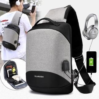 【灰熊厲害】輕量立體肩背手提兩用斜胸包/USB耳機孔設計A5
