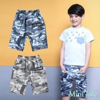 【Mini Jule】男童 短褲 滿版迷彩字母貼布鬆緊短褲(共2色)