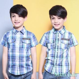 【Mini Jule】男童 上衣 雙口袋字母貼布短袖襯衫(共2色)