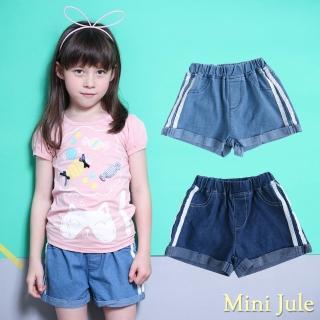 【Mini Jule】女童 短褲 側線條造型反摺褲管鬆緊牛仔短褲(共2色)