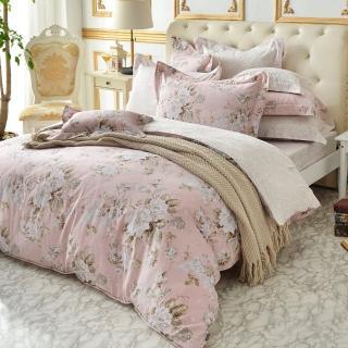 【La Belle】雙人特大四件式防蹣抗菌吸濕排汗兩用被床包組(花戀粉漾)