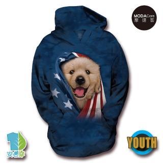 【摩達客】美國The Mountain 愛國小黃金獵犬 少年兒童版 連帽T恤(預購)