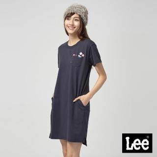 【Lee】Lee 長版口袋棒棒糖花洋裝/RG-0-丈青(丈青)