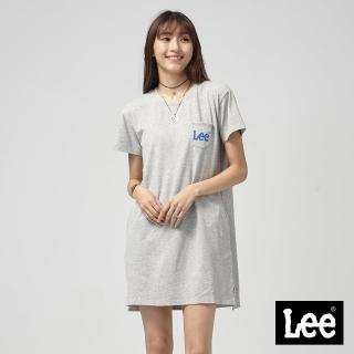 【Lee】Lee 長版口袋LOGO洋裝/RG-0-灰(灰)