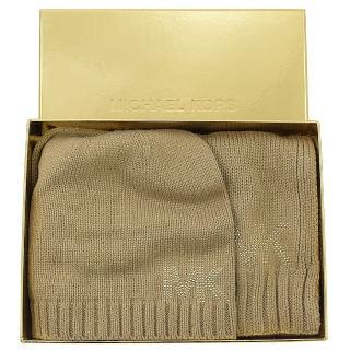 【Michael Kors】水鑽MK LOGO毛帽圍巾禮盒組(卡其)