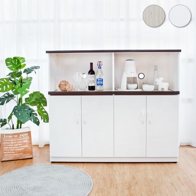 【Bernice】4.3尺四門二拉盤防水塑鋼電器櫃/收納餐櫃(兩色可選)